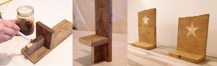 candelabro de madera estilo rústico acabado