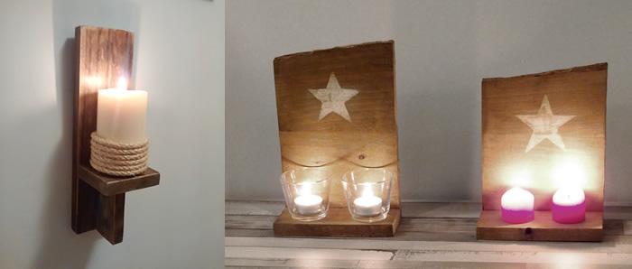 candelabro de madera estilo rústico