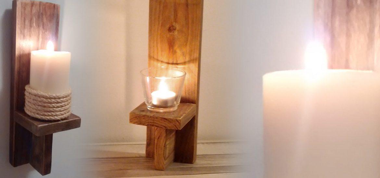 candelabro de pared de madera