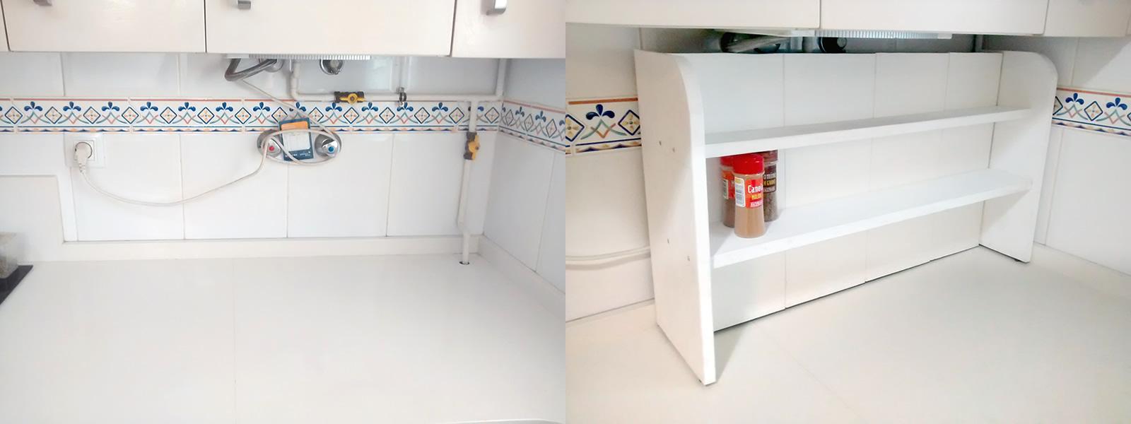 C mo hacer un estante especiero para camuflar tuber as - Atasco tuberia cocina ...