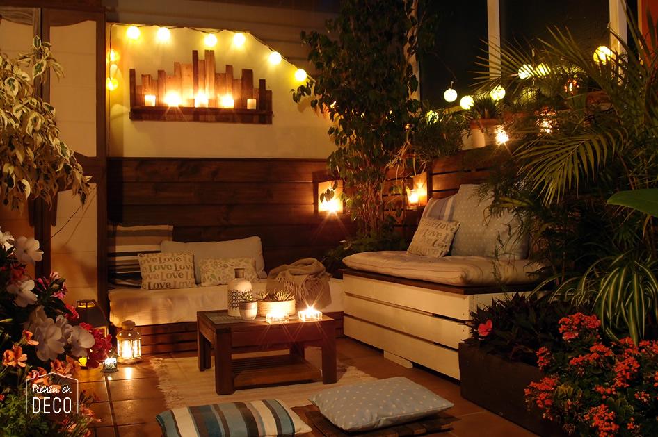 terraza DIY iluminacion de noche