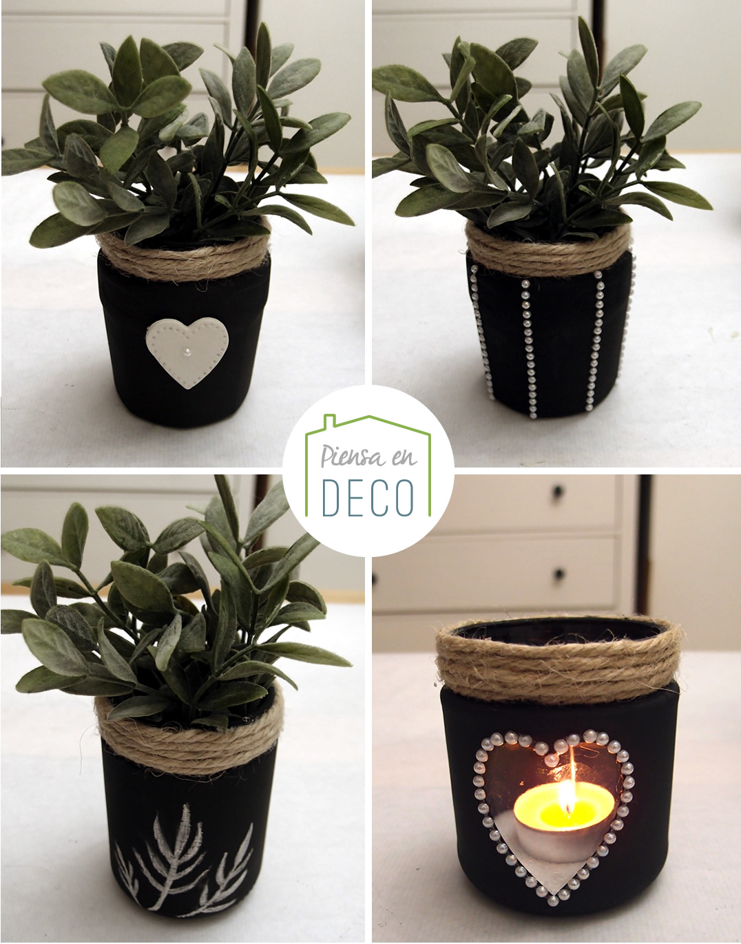 Diy ideas para decorar tarros de cristal piensa en deco for Reciclar botes de cristal decoracion