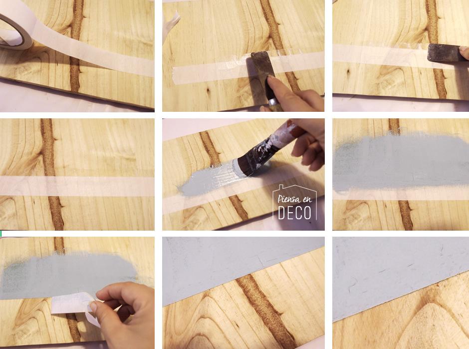 pintar rayas en madera