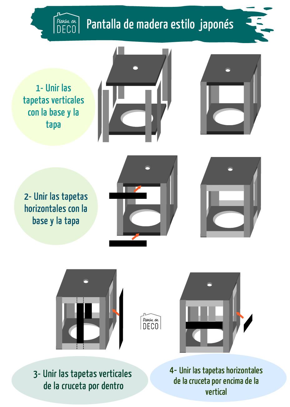 Diagrama montaje lampara diy madera