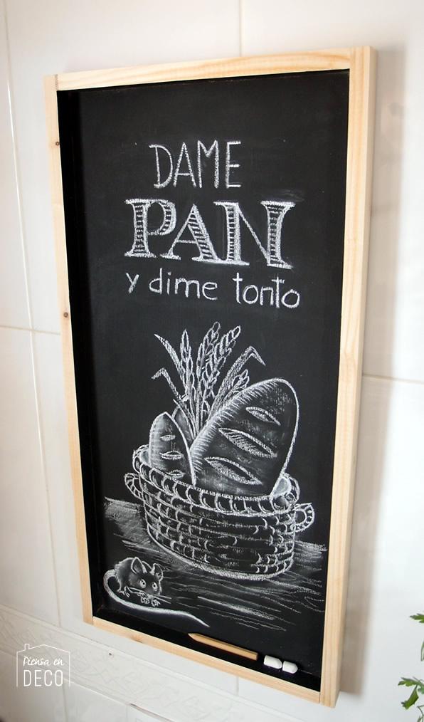 Diy pizarra para decorar tu cocina piensa en deco - Pizarra para cocina ...