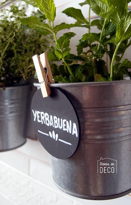 etiquetas para macetas del mini jardín vertical