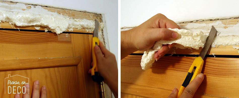 usar espuma de poliuretano para sellar puerta