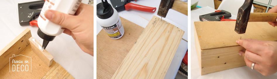 montar listones para construir caja para centro de mesa