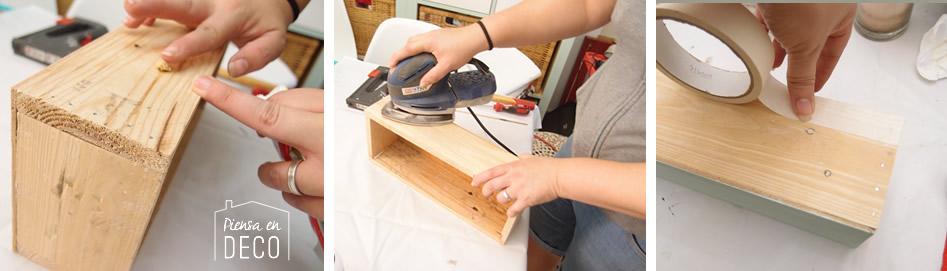 rellenar huecos caja madera