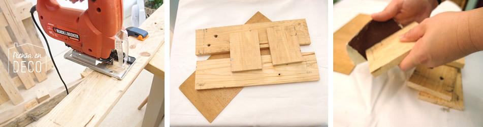 cortar listón de palet para construir centro de mesa