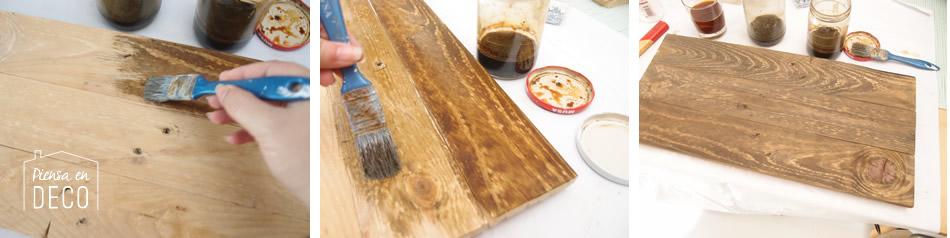 portafotos, paso a paso, oxidado de la madera