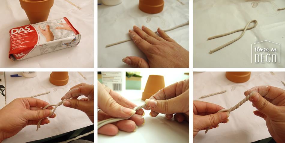 pasta papel decorando macetas