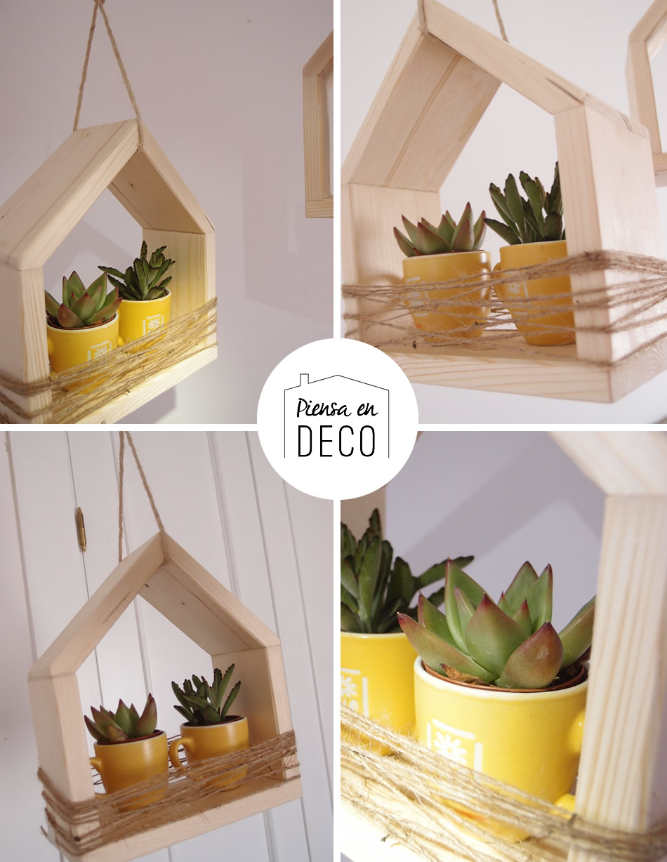 casa colgante de madera para plantas